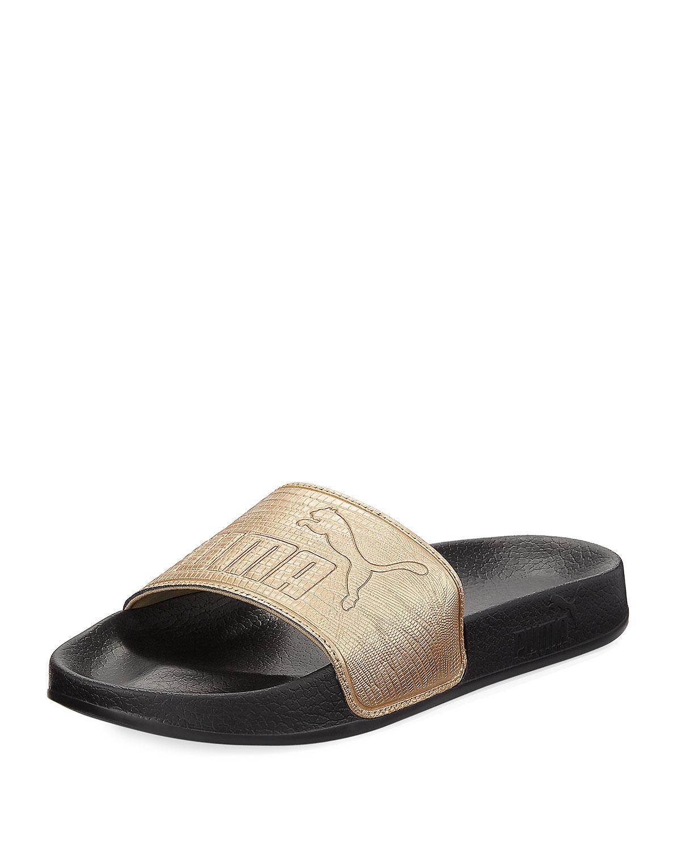 dfa337b33cb371 Puma Leadcat Two-Tone Leather Pool Slide Sandal