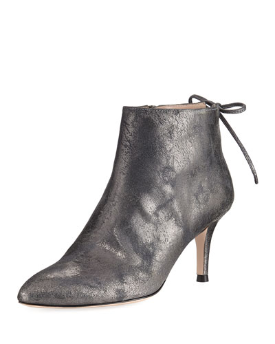 Lofty Metallic Leather Ankle Boot