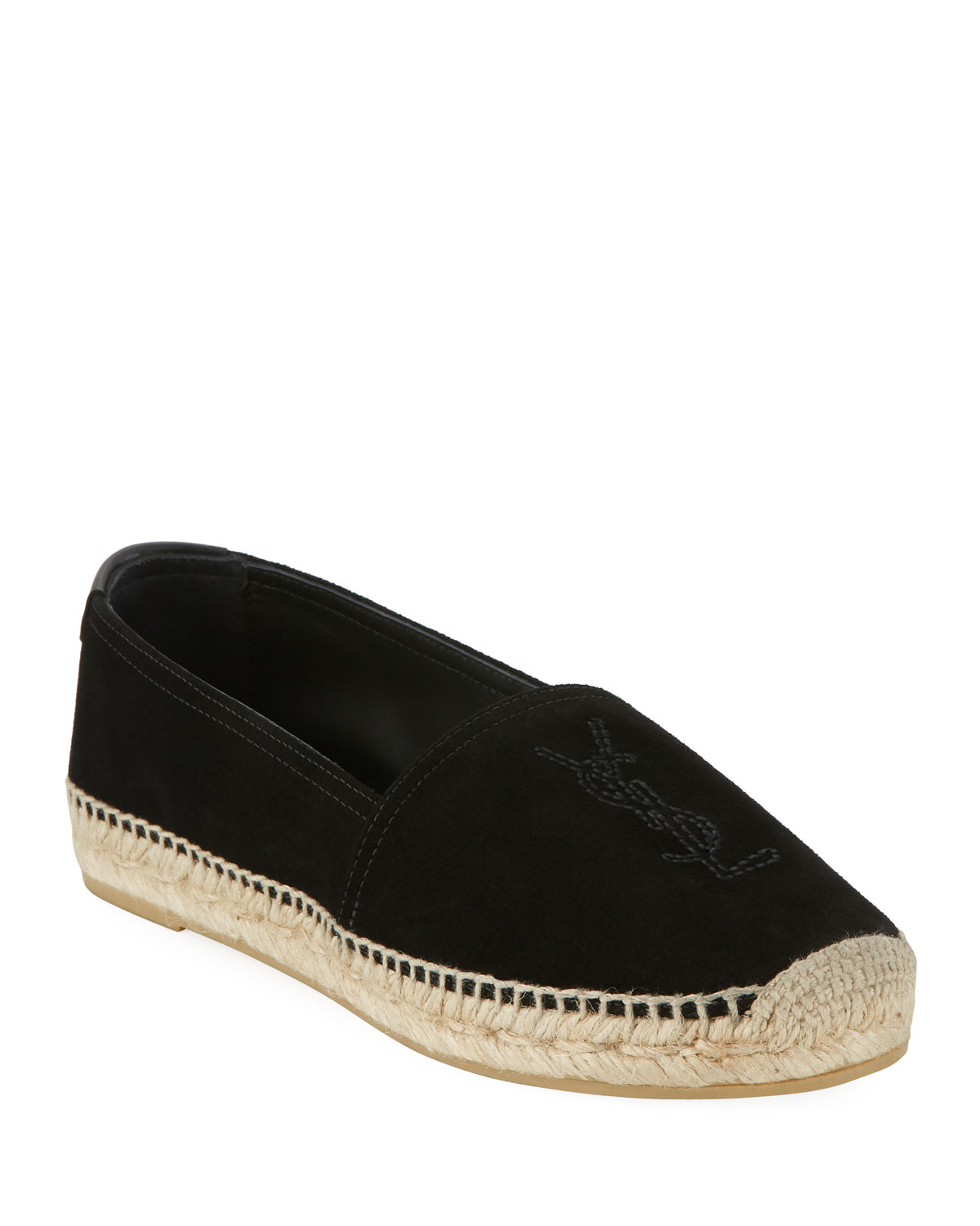 fa17943b8e9d Saint Laurent Monogram YSL Soho Suede Slip-On Espadrille Flat ...