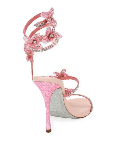 Flower Embellished Snake-Coil Sandal