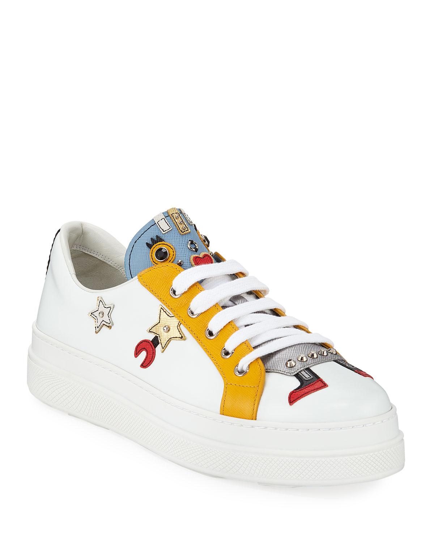 9e2c9926e86 Prada Robot Double-Sole Leather Low-Top Sneakers