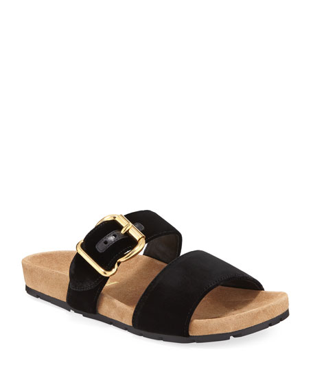 Velvet Two-Band Flat  Slide Sandal