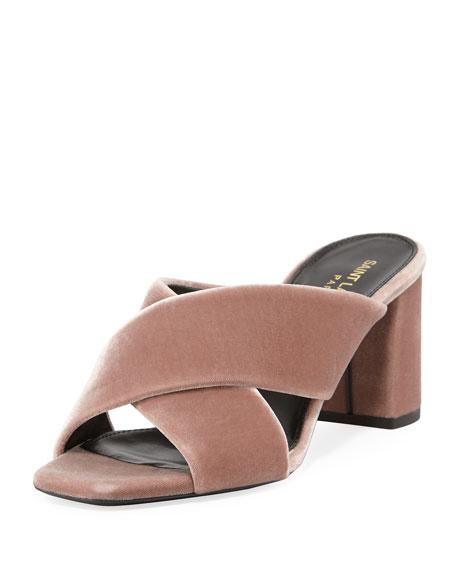 Saint Laurent Lou Lou Velvet Slide Sandal