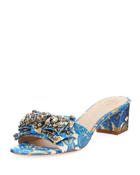 Tory Burch Valentina Jacquard Bow Slide Sandal