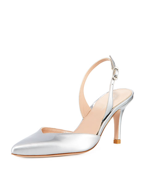 Sleek Metallic Slingback Pump, Plata