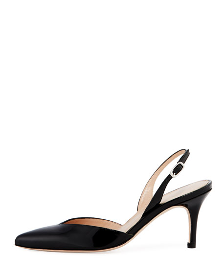Sleek Patent Slingback Pump, Black