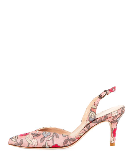 Sleek Embroidered Slingback Pump