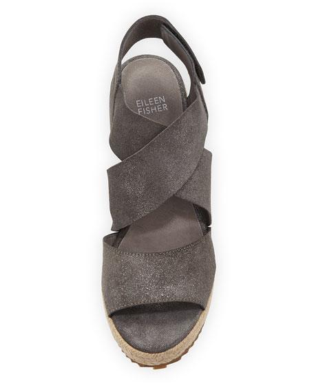 Eileen Fisher Willow Starry Suede Wedge Espadrille Sandals