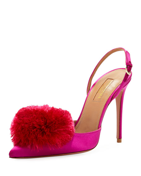 Aquazzura Powder Puff Satin Slingback Pump