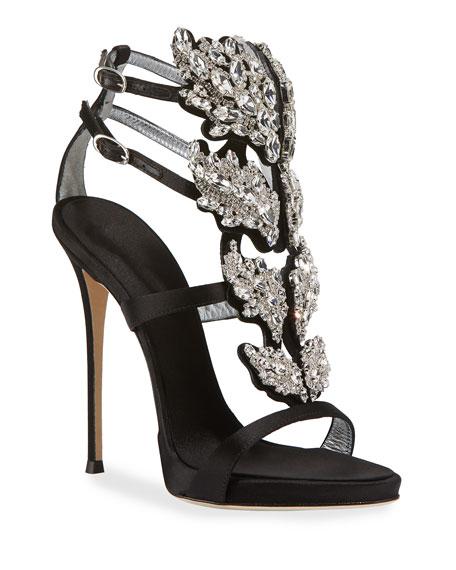 Satin Wing Jeweled Sandal