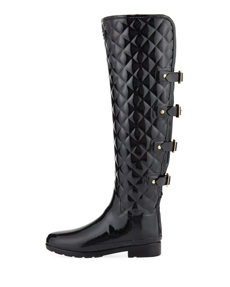 Refined Gloss Quilted Over-The-Knee Boot