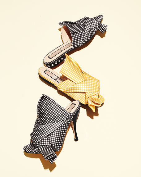Flat Gingham Bow Slide Sandal