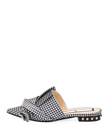 Gingham Flat Slide Bow Mule