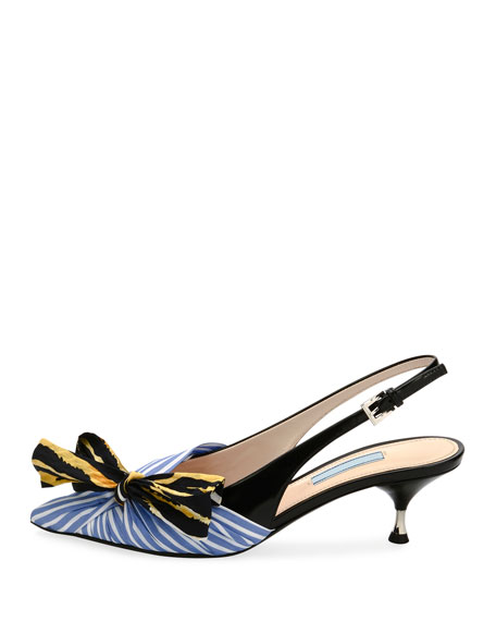Colorblock  Fabric Slingback Pumps