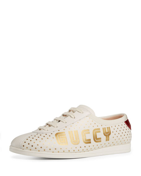 Gucci Falacer Guccy-Print Leather Trainer