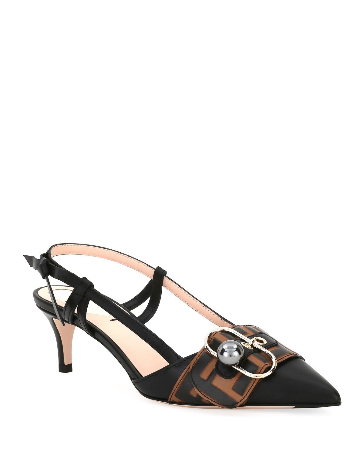 a13f08945df Fendi Pearland Leather Slingback Pumps