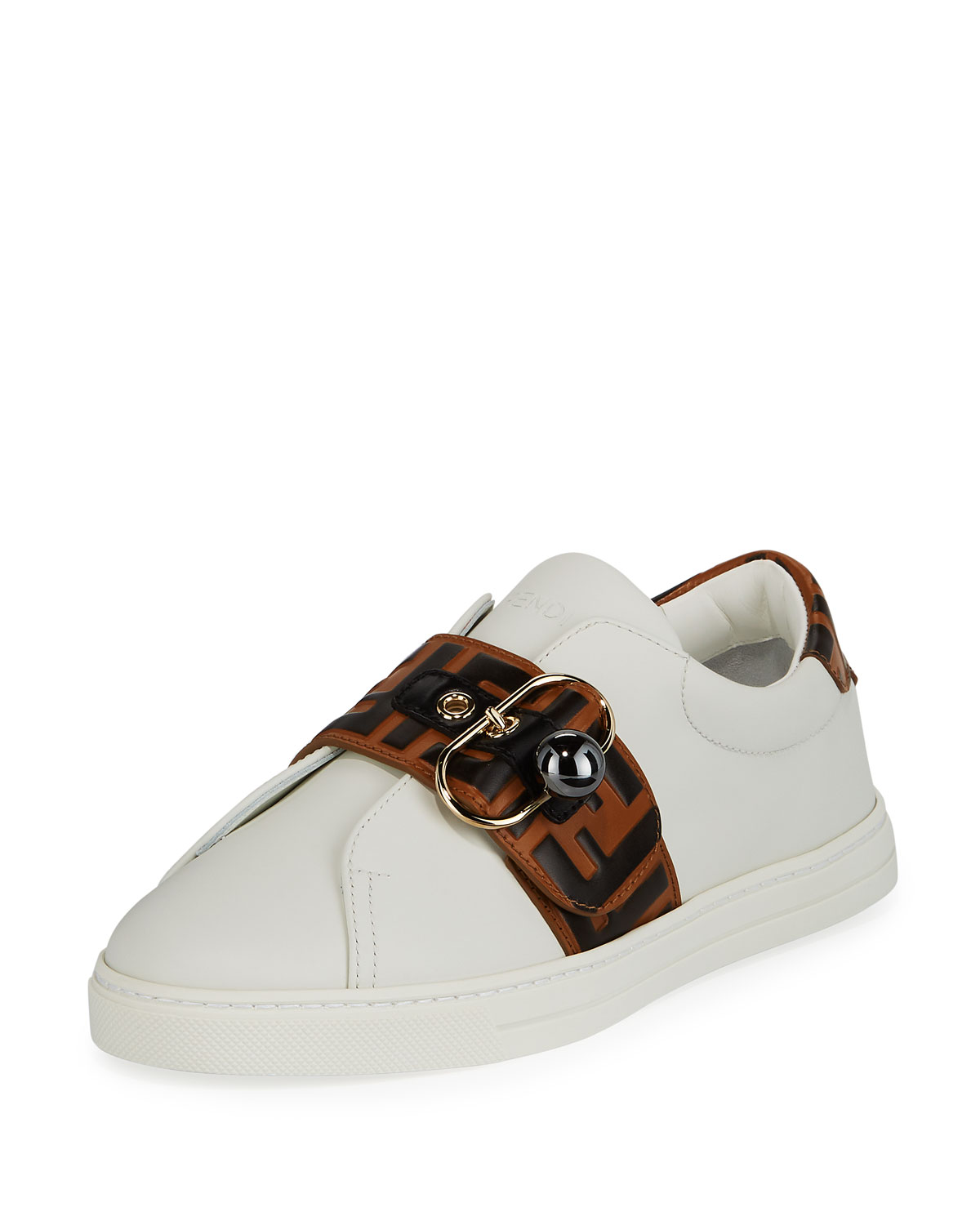09a9f6aaf9d3 Fendi Pearland Leather Sneakers with FF Strap