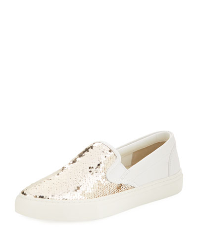 1ac7f44a9c3985 Tory Burch Carter Slip-on Sequined Skate Sneaker