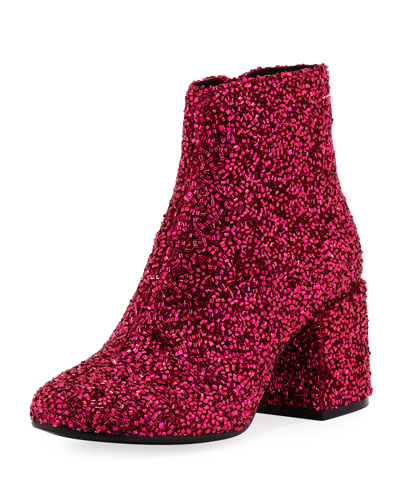 Tinsel Bead Zip-Up Bootie