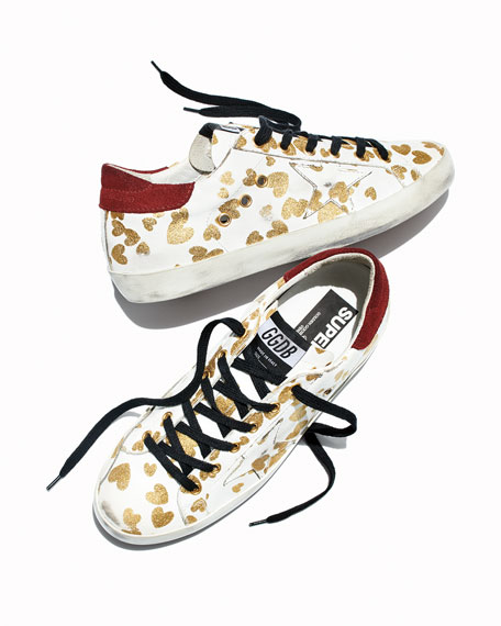 Superstar Hearts Lace-Up Sneakers