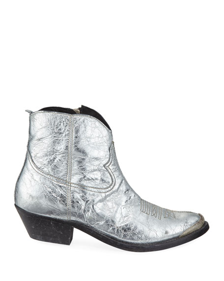 Young Metallic Crackled Western Booties
