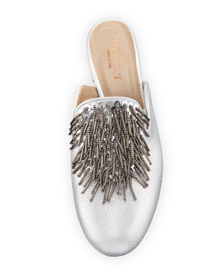 Kala Embellished Metallic Leather Mule