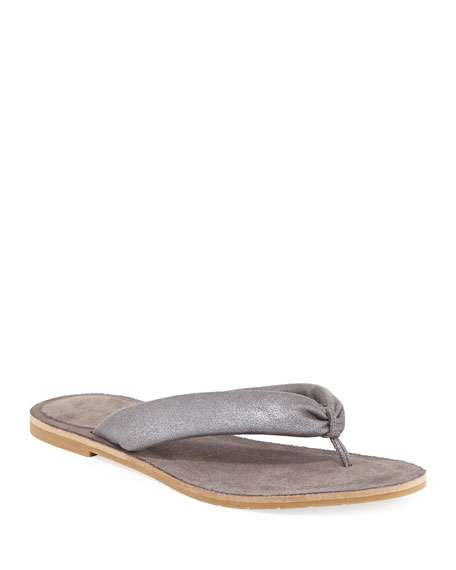 Eileen Fisher Flue Flat Washed Leather Thong Sandal
