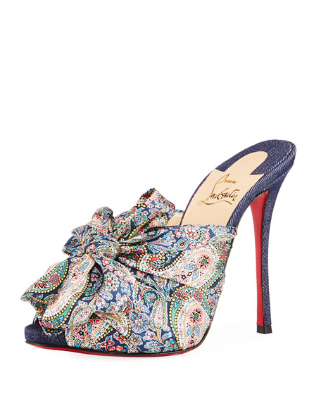 Christian Louboutin Moniquissima Paisley Red Sole Slide Sandal