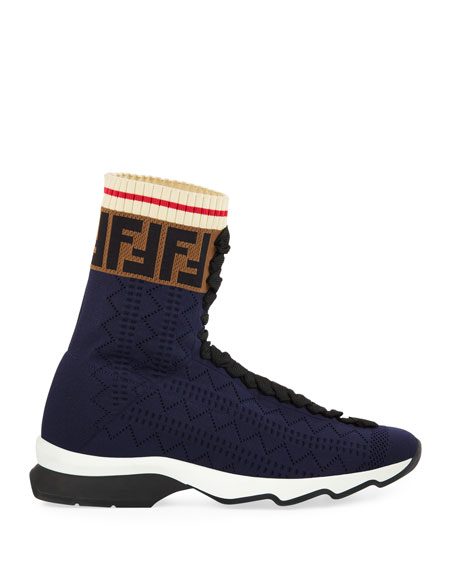 FENDI 30Mm Logo Stretch Knit High Top Sneakers, Navy
