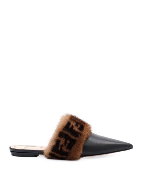 Leather Flat Mule with FF Fur Trim