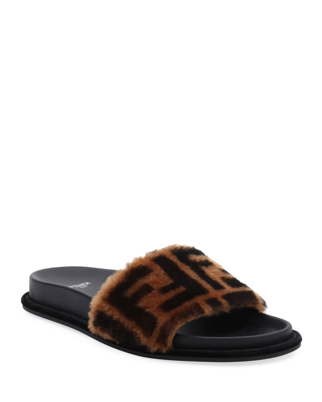7b99c22416d2 Fendi FF Fur Pool Slide Sandal