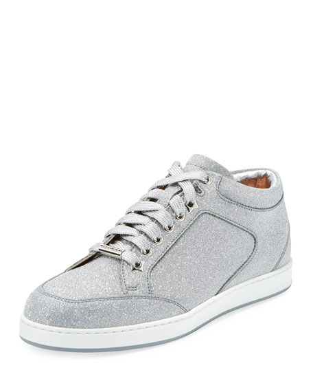 Jimmy Choo Miami Glitter Leather Low-Top Sneaker