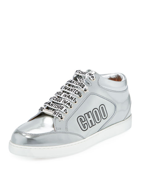 Jimmy Choo Miami Logo Liquid Metallic Low-Top Sneaker