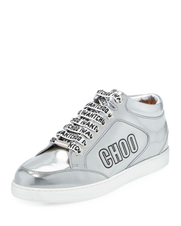 4d1a6f1e23cd Jimmy Choo Miami Logo Liquid Metallic Low-Top Sneakers