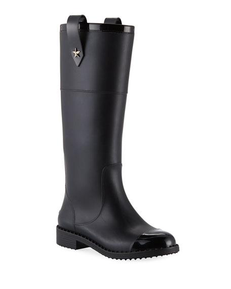 3c86099681 Jimmy Choo Edith Rubber Knee-High Rain Boot | Neiman Marcus