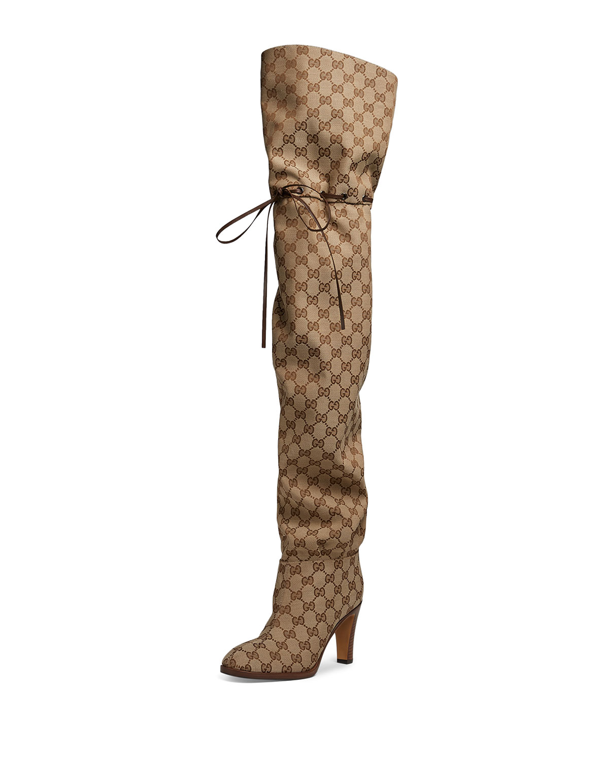 1178552c2 Gucci Lisa 95mm Over The Knee GG Fabric Boot | Neiman Marcus