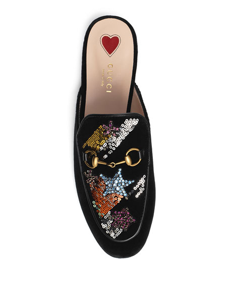 Gucci Princetown Sequined Velvet Mule