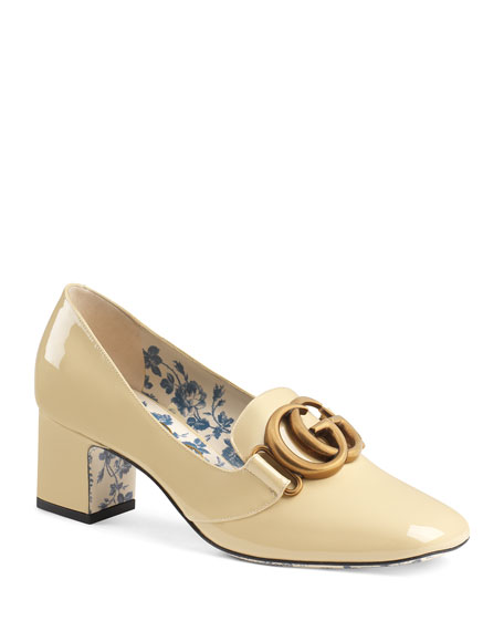 Victoire Patent Leather Double-G Loafer Pump