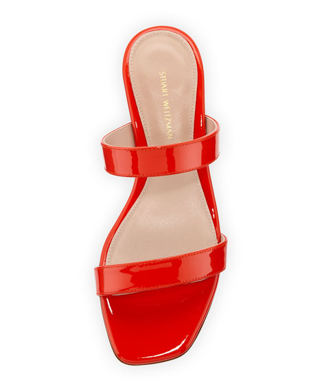 Ava Patent Low-Heel Slide Sandal