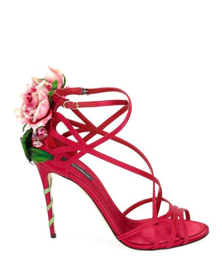Jeweled Satin Sandal with Rose Heel