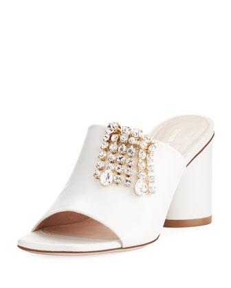 6c8f5fe090 Stuart Weitzman TheOne Embellished Leather Slide Sandal   Neiman Marcus