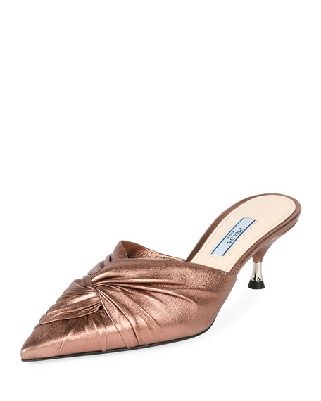 Low-Heel Metallic Leather Twist Mule, Cammeo