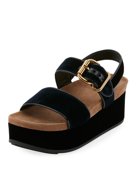 Velvet Platform Double-Band Sandal