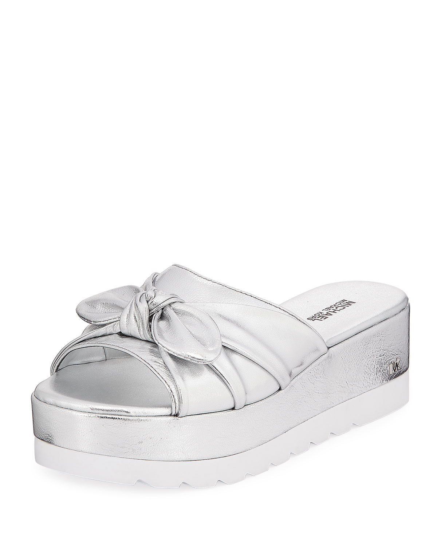 999ec97f74 MICHAEL Michael Kors Pippa Metallic Leather Platform Slide Sandal with Bow