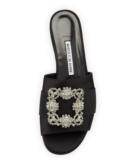 Manolo Blahnik Martamod Crystal-Buckle Slide Sandals