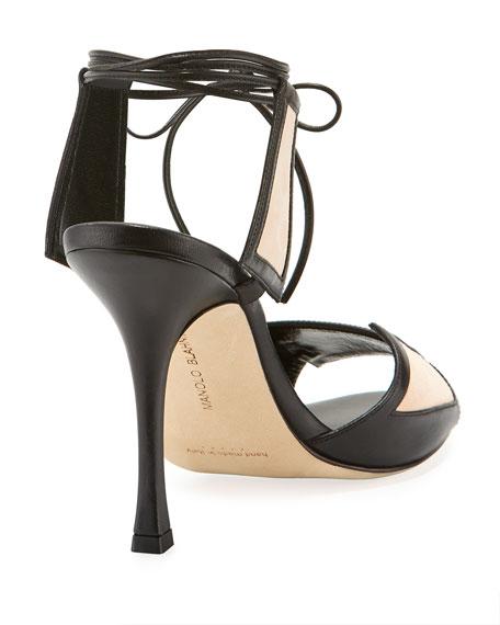 Gabon Two-Tone Ankle-Tie Sandal