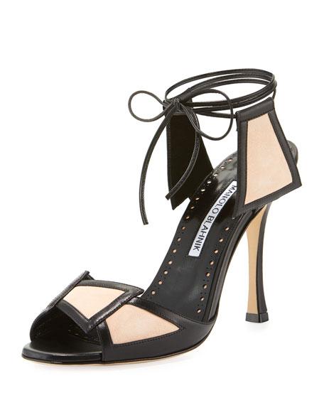 Manolo Blahnik Gabon Two-Tone Ankle-Tie Sandal
