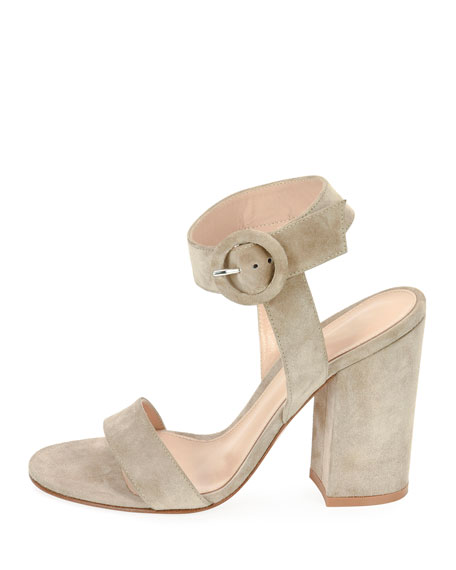 Gianvito Rossi Suede Chunky-Heel Ankle-Wrap Sandals
