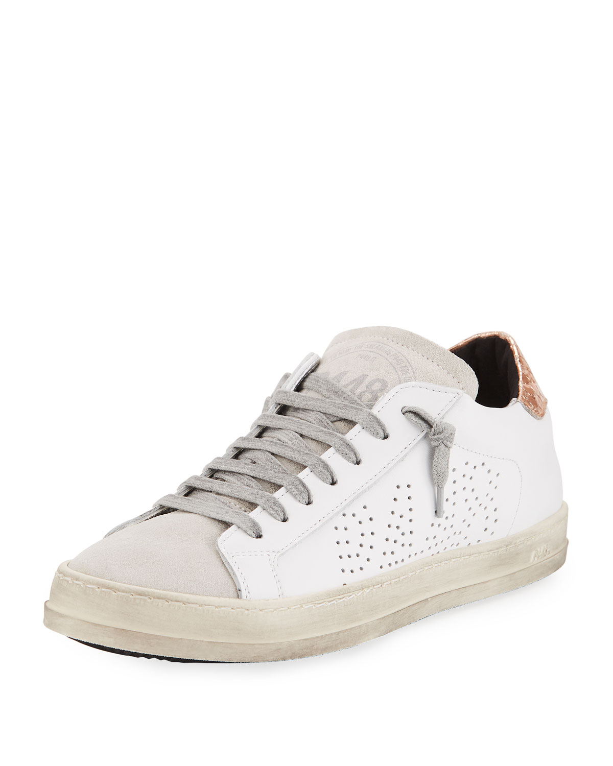 d0b7fd7ad66 P448 John Mixed Leather Low-Top Sneakers, White/Copper | Neiman Marcus