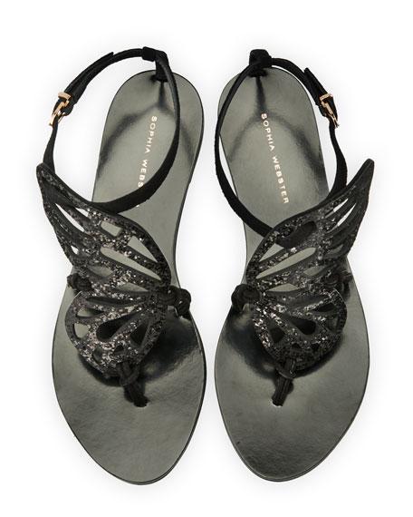 Sophia Webster Bibi Butterfly Flat Sandals, Black